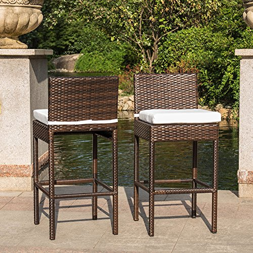 Sundale Outdoor 2 Pcs Brown Wicker Counter Height Bar