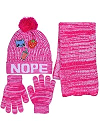 Girls Personality 3 Piece Knit Cuffed Pom Beanie Scarf & Gloves Set 4 Color