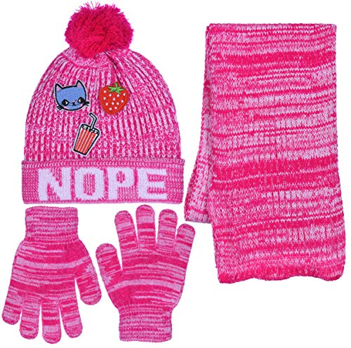 Girls Personality 3 Piece Knit Cuffed Pom Beanie Scarf & Gloves Set 4 Color (Nope - Pink)