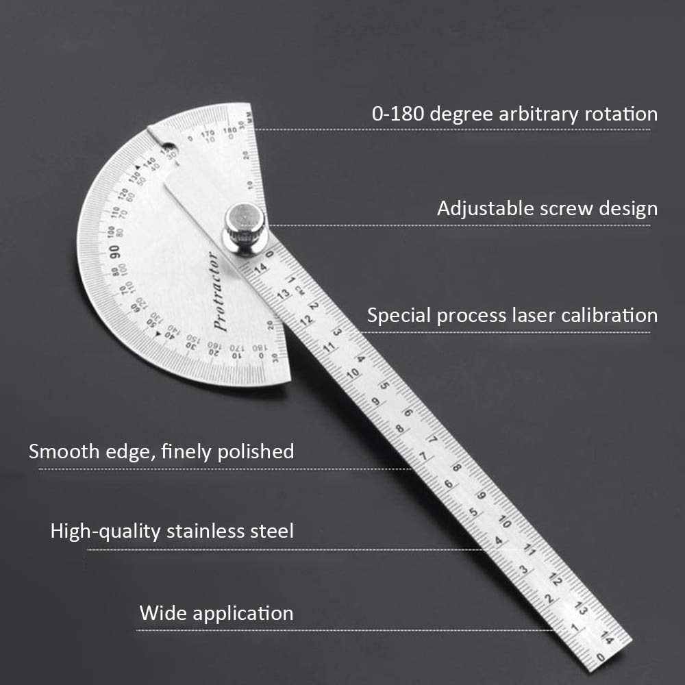 90MM 180 PROTRACTOR SQUARE CENTRE STAINLESS STEEL ANGLE GAUGE /& RULE 4 INCH