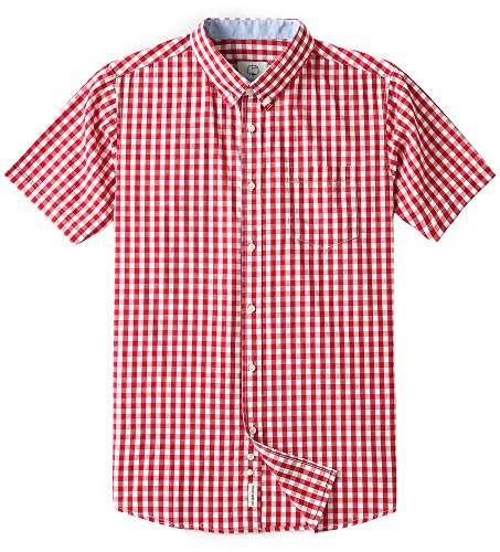 Men's Short Sleeve Plaid Checkered Button Down Casual Shirts Red ()