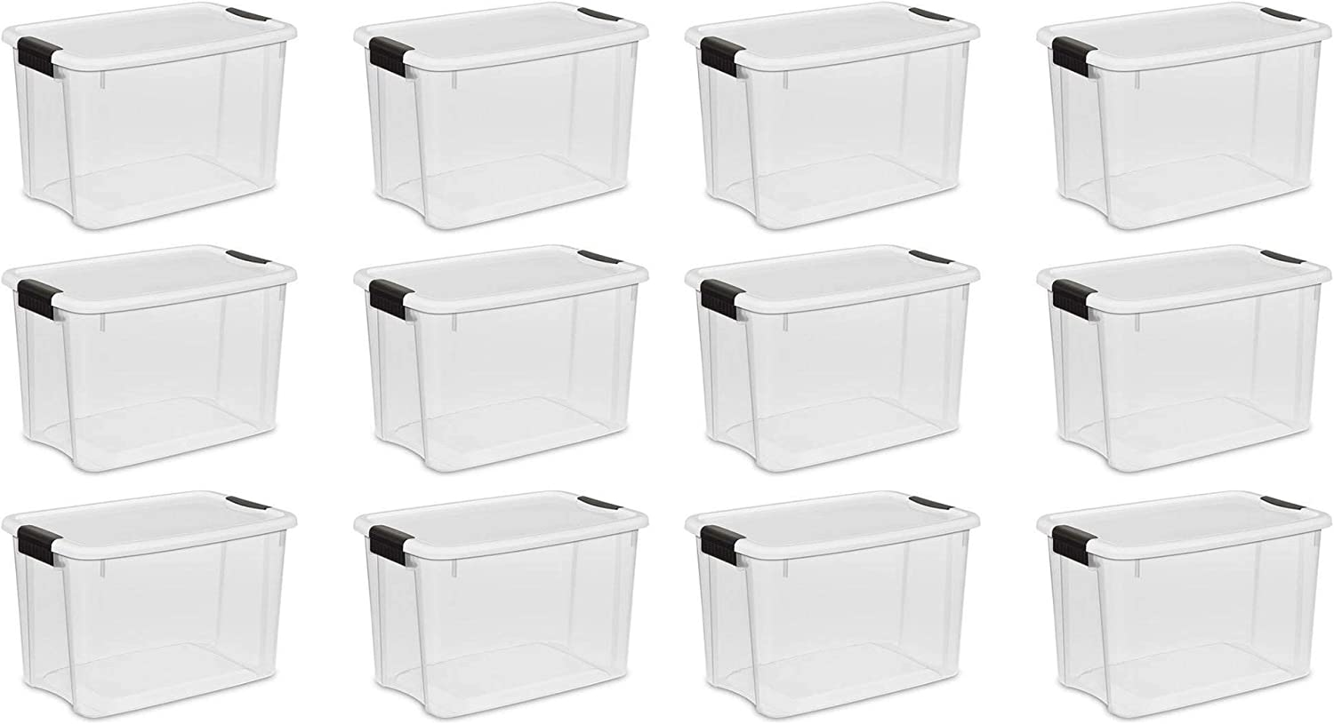 STERILITE 19859806, 30 Quart/28 Liter Ultra Latch Box, Clear with a White Lid and Black Latches