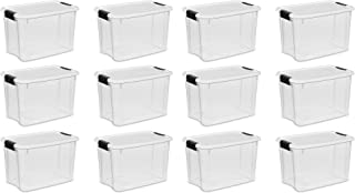 product image for STERILITE 19859806, 30 Quart/28 Liter Ultra Latch Box, Clear with a White Lid and Black Latches