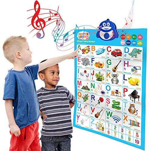 Bilingual Talking Alphabet Poster: Music + ABC + 123s English & Spanish + Songs - Perfect educational toys for 2 year olds and learning toys for 3 year olds. Also great as preschool learning toys