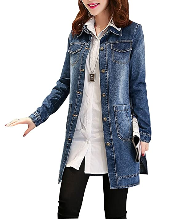 huge selection of ff56a 73259 Damen Jeansjacke Lang Schöne Coat Jacke Denim Winterjacke ...