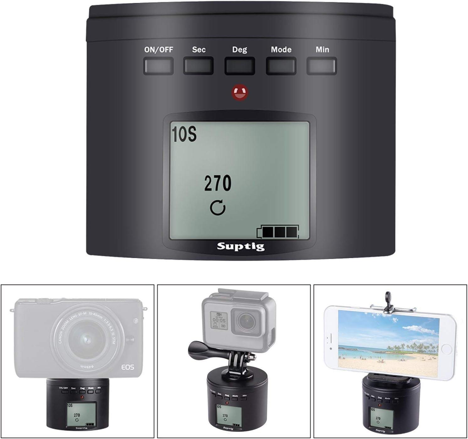 Time Lapse Panning Camera Mount 360/° //120 Minutes Rotating Tripod for GoPro Samrtphone Digital Camera Action Camera