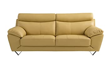 American Eagle Furniture Valencia Collection Italian Grain Leather Living  Room Sofa With Pillow Top Armrests,