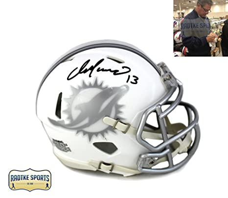 Amazon.com  Dan Marino Autographed Signed Miami Dolphins Riddell Current  Ice NFL Mini Helmet  Sports Collectibles b54e2a98d
