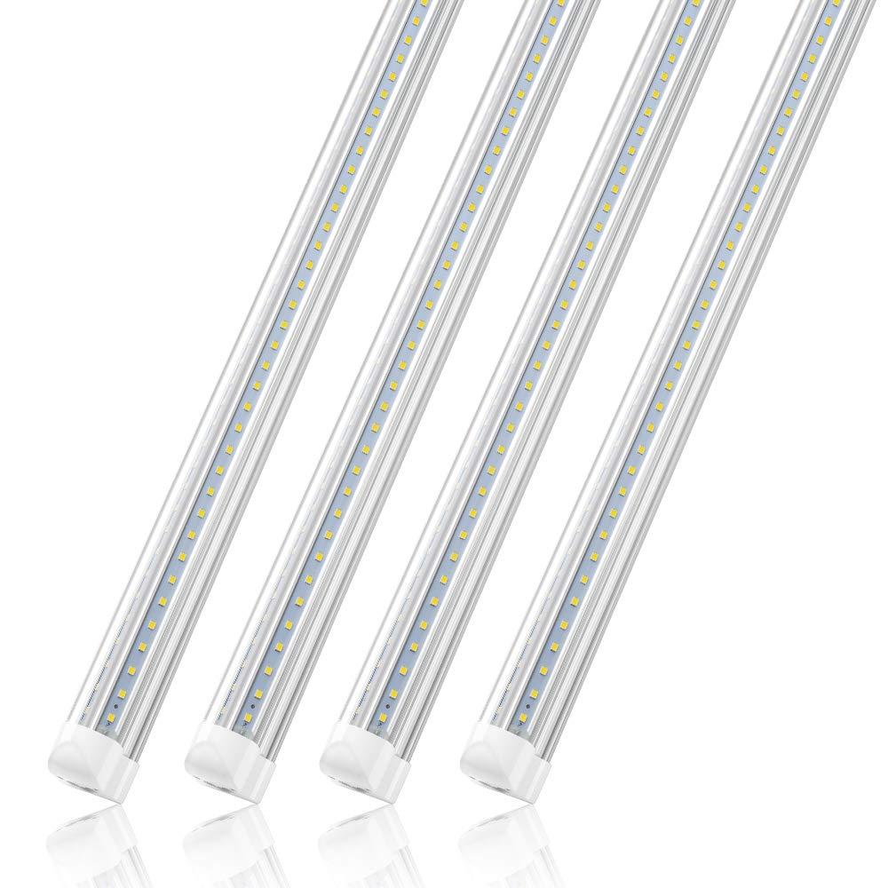 Under Cabinet 28W Closets Basement Pack of 4 T8 Integrated Fixture for Ceiling 4FT LED Shop Light for Garage No Ballast 2800LM Cool White V Shape Cooler Lighting Plug and Play 6000K