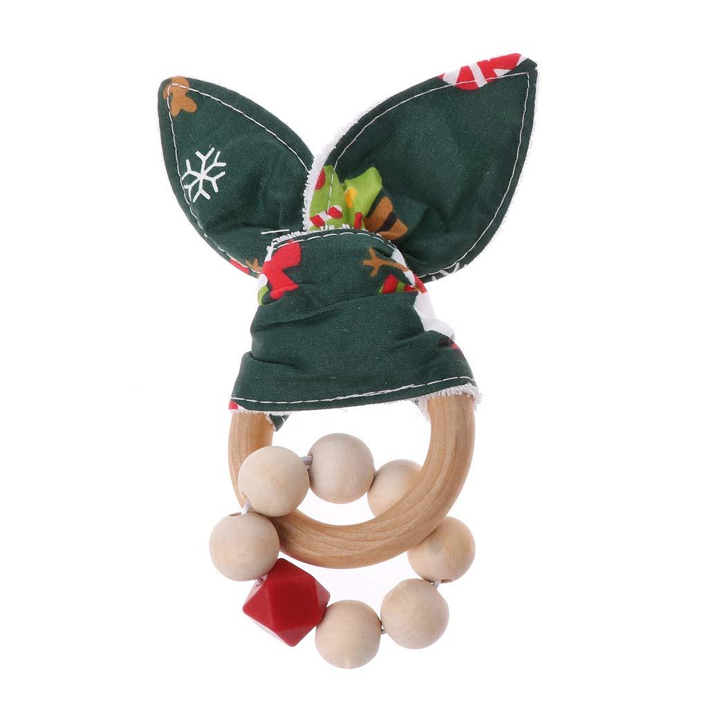 Mamimami Home 3pc Baby Aus Holz Bei/ßring Bunny Ohr Bio Ringe Rassel Schnuller Dummy Clips Baby Shower Geschenke Set