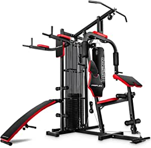 PROFLEX M9500 Multi-Function Home Gym Machine with Punching Bag, Situp Bench, Dip Station, Black/Red
