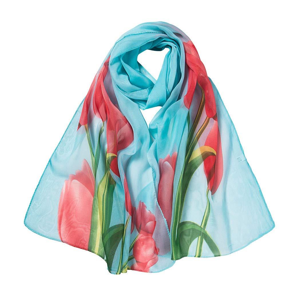 lightweight Scarfs for Women Hot Sale,deatu Clearance Ladies Fashion Flower Printing Long Soft Wrap Scarf Shawl(B-Sky Blue)