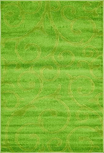 Unique Loom Floral Frieze Collection Modern Floral Vines Green Area Rug 4 0 x 6 0