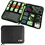 BUBM Waterproof Universal Cable Organizer Electronics Accessories Storage Bag for Cords,Flash Drive,USB,Phone Accessories,Power Bank, Compact Travel Gear Organizer (1 Layer, Black)