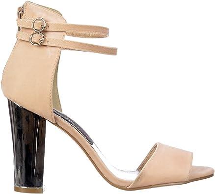 Strappy Sandals Block Heel Suede Pump