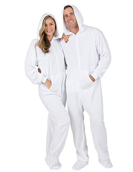 9e9a66a8d5 Amazon.com  Footed Pajamas Family Matching Frosted White Adult Hoodie  Fleece Onesie - Small Plus Wide  Clothing