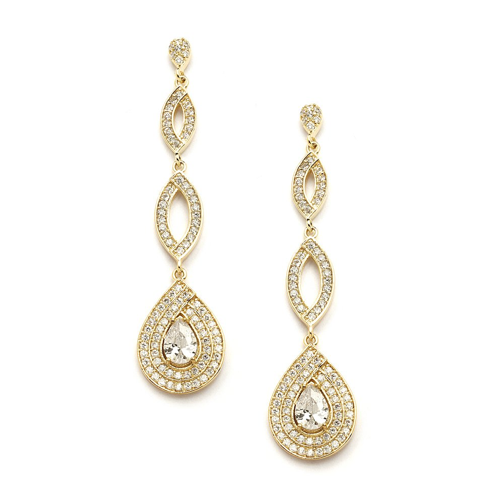 Mariell Dramatic Micro-Pave CZ Dangle Bridal Wedding Earrings with Genuine 14K Gold Plating by Mariell