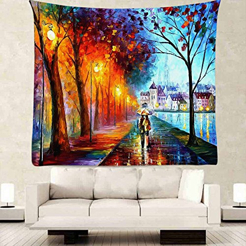 oFloral Paris Eiffel Tower Tapestry Wall Decor By, Colorful Oil Painting Walking People Design,Bedroom Living Girl Room Dorm Accessories Wall Hanging Tapestry 5160 Inch (Oil Painting People)