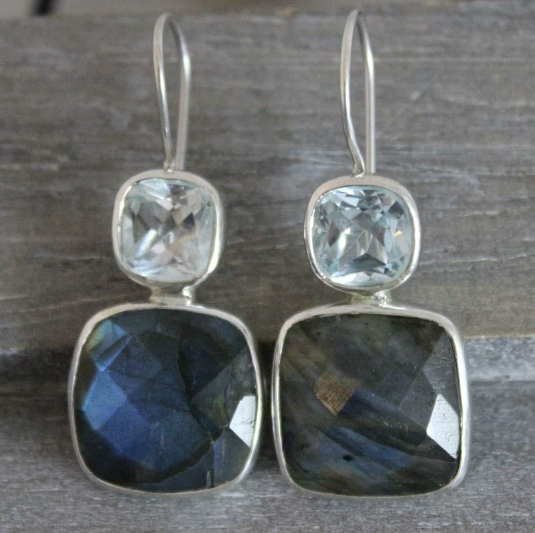 Labradorite Cushion Set Earrings