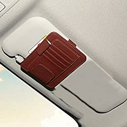 Car Sun Visor Organizer - Zatooto Visor Sunglass Clip Holder Card Holder Pocket Organizer - Registration & Document Holder - Personal Belonging Storage Pouch Organizer