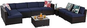 Sophia & William Outdoor Sectional Furniture 9 Piece Patio Sofa Set Low-Back Rattan Wicker Conversation Set, Navy Blue