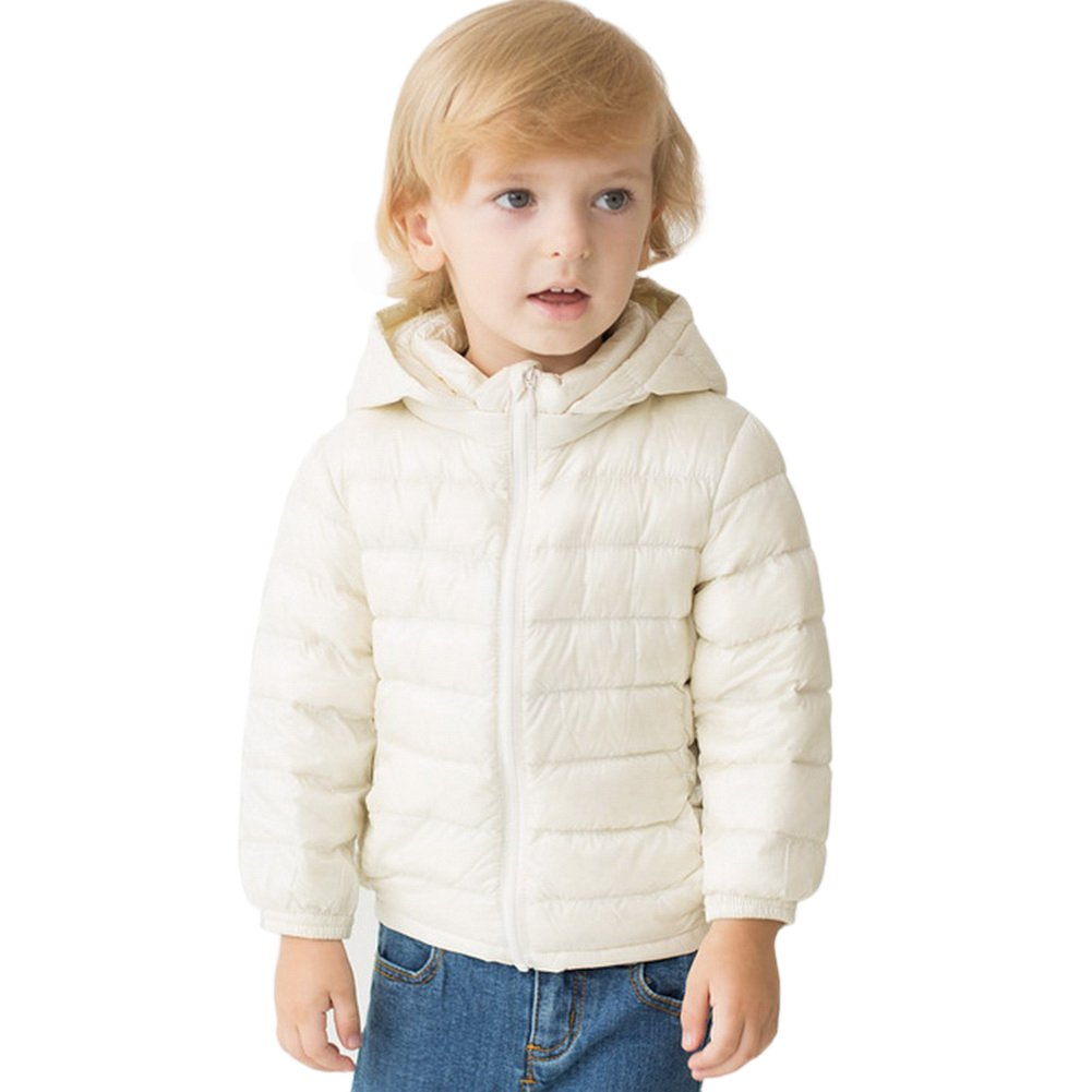 marc janie Boys Winter Ultra Light Down Jacket Removable Hood Sleeve