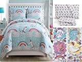 Children's Magical Rainbow Unicorn 7pc FULL Size Comforter & Sheet Set '+ 36pc Wall Decals