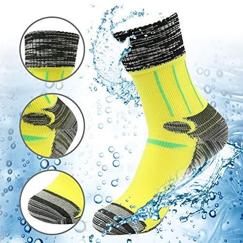 (RANDY SUN 100% Waterproof Hiking Socks, Men's Sports Lifestyle Crew Cut Socks Yellow Black Grey Size)