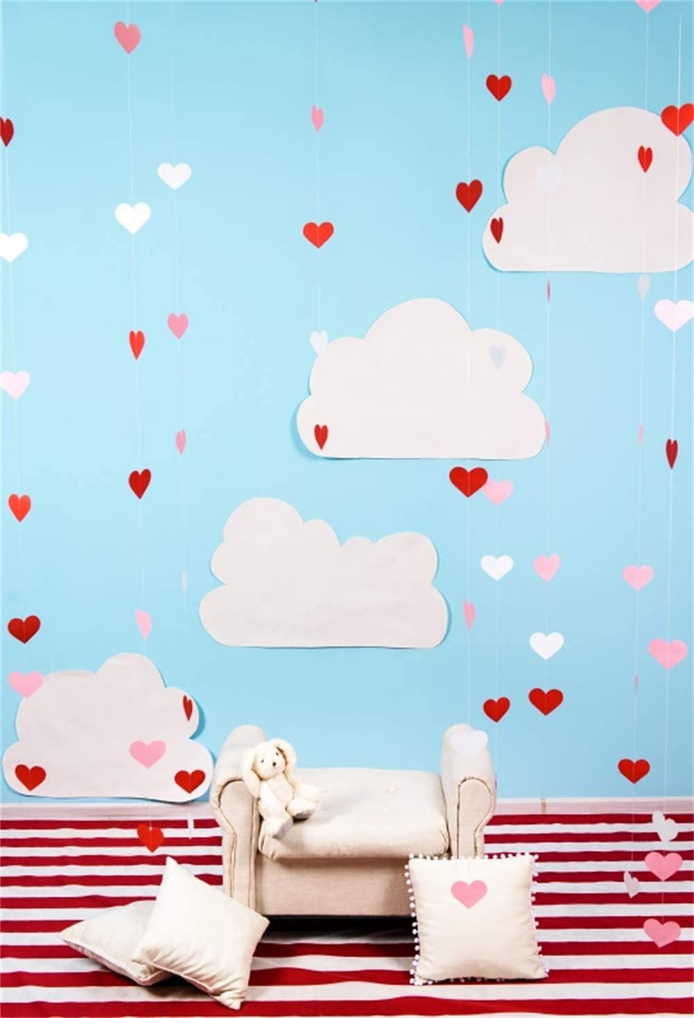 7x10 FT Love Vinyl Photography Background Backdrops,Hand Drawn Style Doodle Hearts Valentines Day Romance Hipster Modern Pattern Background Newborn Baby Portrait Photo Studio Photobooth Props