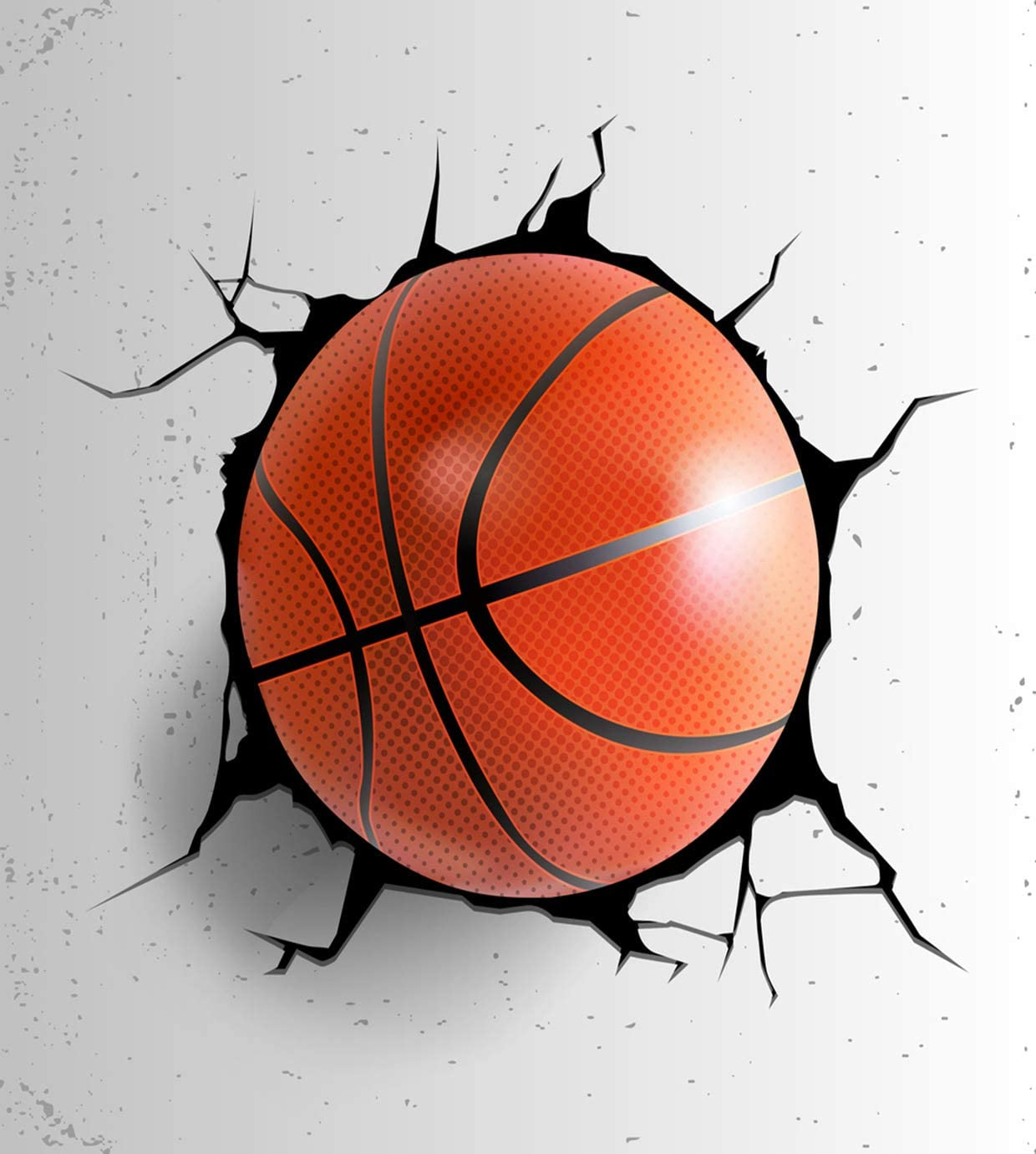 Eaiizer Ball Poster Sport Basketball Coming Cracked Wall Grunge Wall Art Print Artwork for Home Bedroom Office Dorm Decor Unframed Painting 24x36 Inches