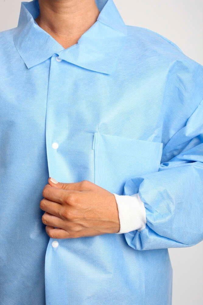 MediChoice Laboratory Coats, Premium, Disposable, Anti-Static, Three-Pocket, Knit Cuff, 5-Snap, Spunbond Meltblown, XXXL, Blue (Case of 25)