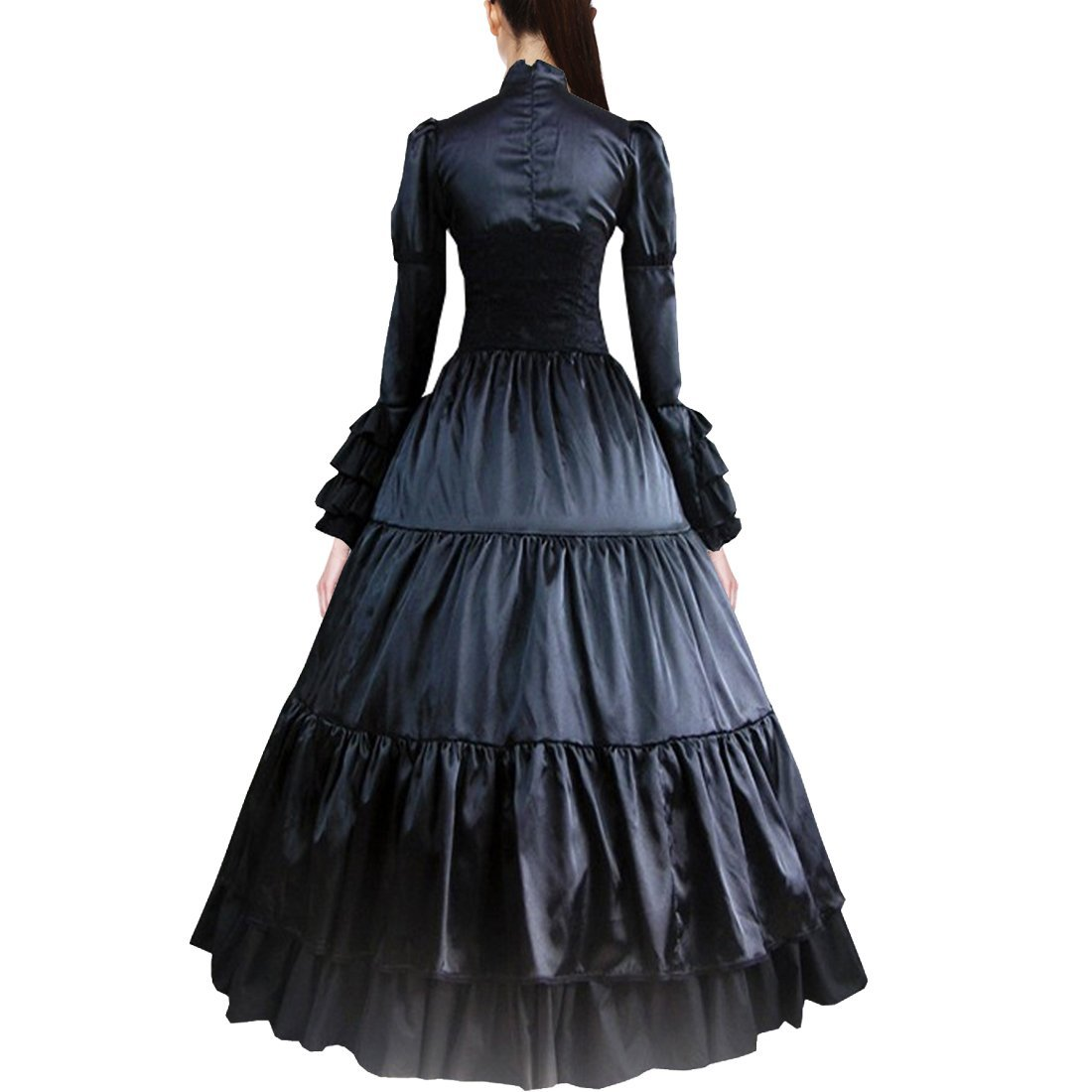 Fancy Dress Store Partiss Women Bowknot Stand Collar Gothic Victorian Dress Costumes M,Black by Fancy Dress Store (Image #3)