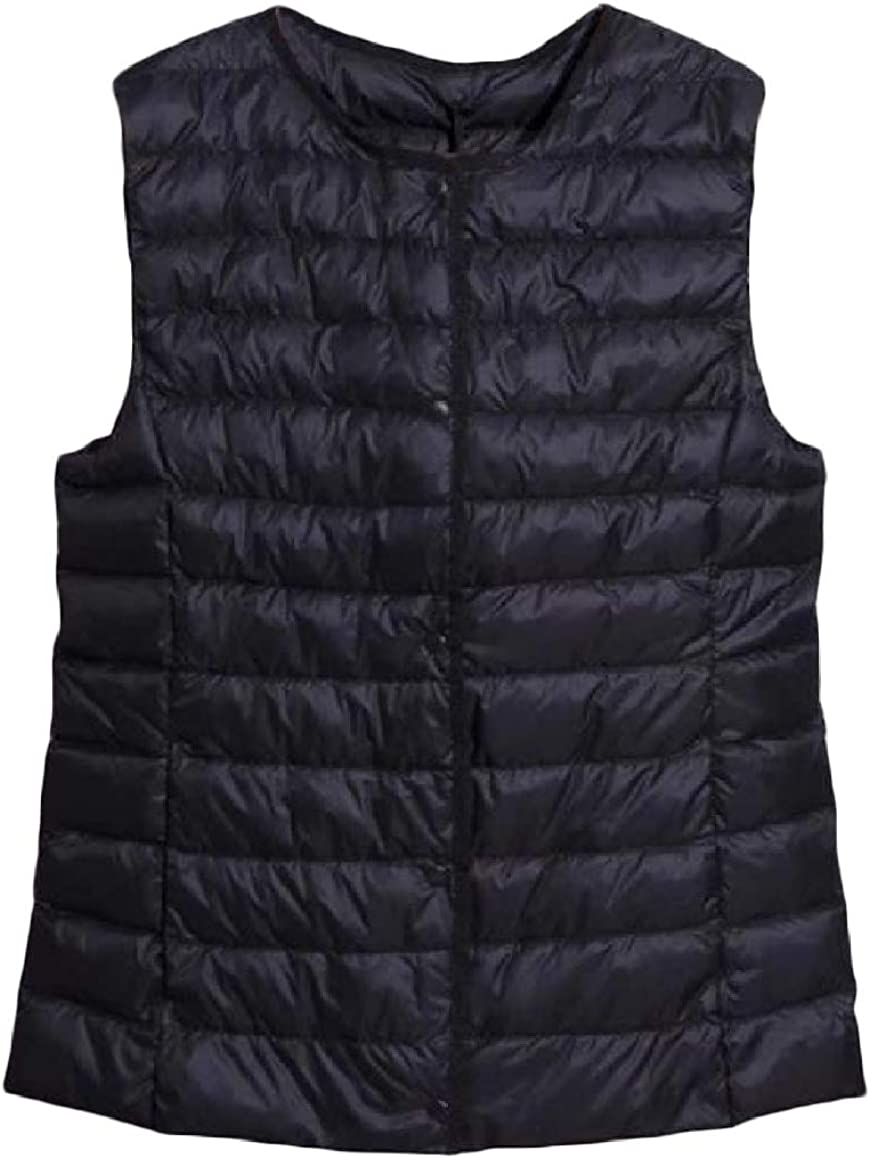 RingBong Womens Ultra Light Weight Short Style V Neck Button Down Waistcoat Down Jacket
