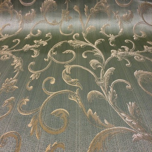 Jacquard Damask Vine Brocade Fabric 118'' Wide (Sage Green / Gold)
