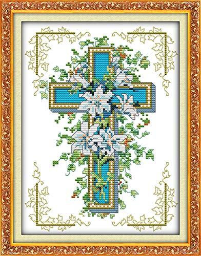 LovetheFamily クロスステッチキット DIY 手作り刺繍キット 正確な図柄印刷クロスステッチ 家庭刺繍装飾品 11CT ( インチ当たり11個の小さな格子)中程度の格子 刺しゅうキット フレームがない - 26×36 cm 十字架とユリ