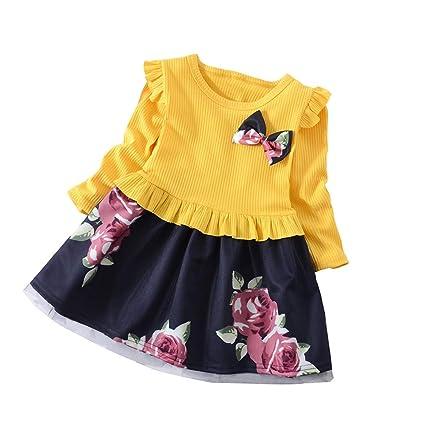 feiXIANG Ropa para niños Ropa para niños Primavera y otoño Vestido de Manga Larga Arco Vestido