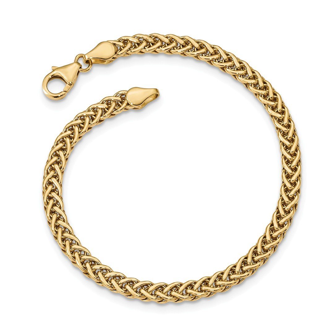 ICE CARATS 14k Yellow Gold Link Bracelet 7.5 Inch Fancy Fine Jewelry Gift Set For Women Heart