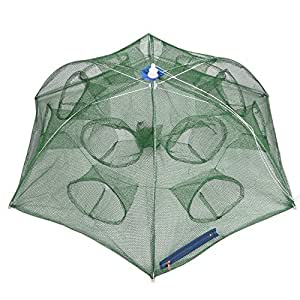 Goture Trap Net Portable Fishing Net Fish Shrimp Crab Baits Cast landing Folding Dip Cage 6 sides 12 Holes
