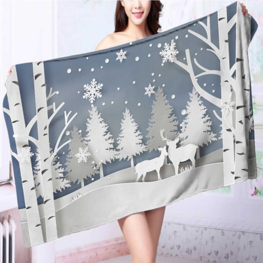 SOCOMIMI Quick dry bath toweldeer in forest with snow in christmas and winter season paper Absorbent Ideal for everyday use L55.1 x W27.5 INCH by SOCOMIMI