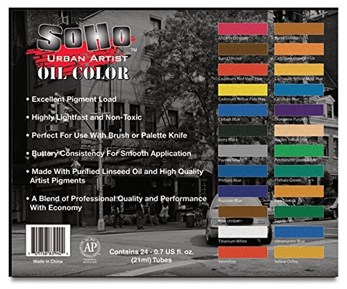 SoHo Urban Artist Oil Color Paint and High Pigmented Professional Oil Paint - Complete Oil Painting Set All Inclusive Kit