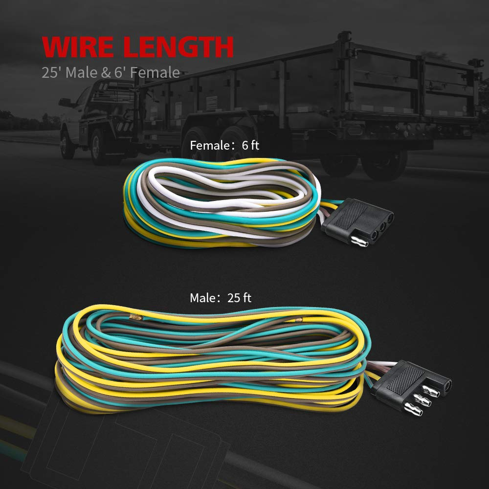 Mictuning Trailer Wiring Harness Extension Kit 18 Awg Color Coded 4
