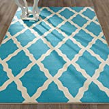 Ottomanson Glamour Collection Contemporary Moroccan Trellis Design Kids Lattice Area Rug (Non-Slip) Kitchen and Bathroom Mat Rug, 8'2'' X 9'10'', Blue