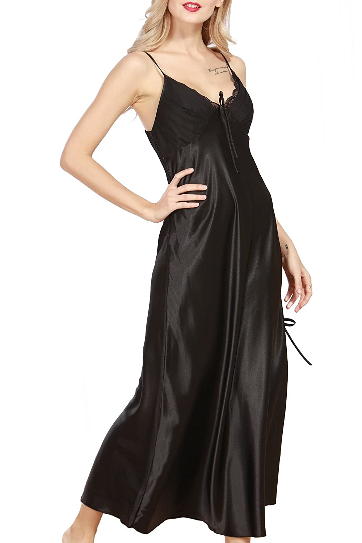 9e9cabfd89436 iooho Womens Satin Nightgown Long Slip Sleeveless Sleepwear Night Dress  Sexy Night Wear for Women