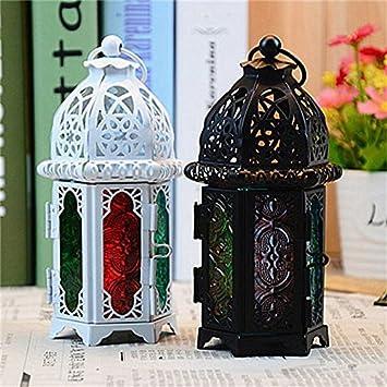 Noir SODIAL D/éCoration Marocain Classique Bougeoirs Antivent Lanterne Bougie Chandelier /à Suspension en Verre De Fer Votif D/éCoration De Mariage De Maison De F/êTe