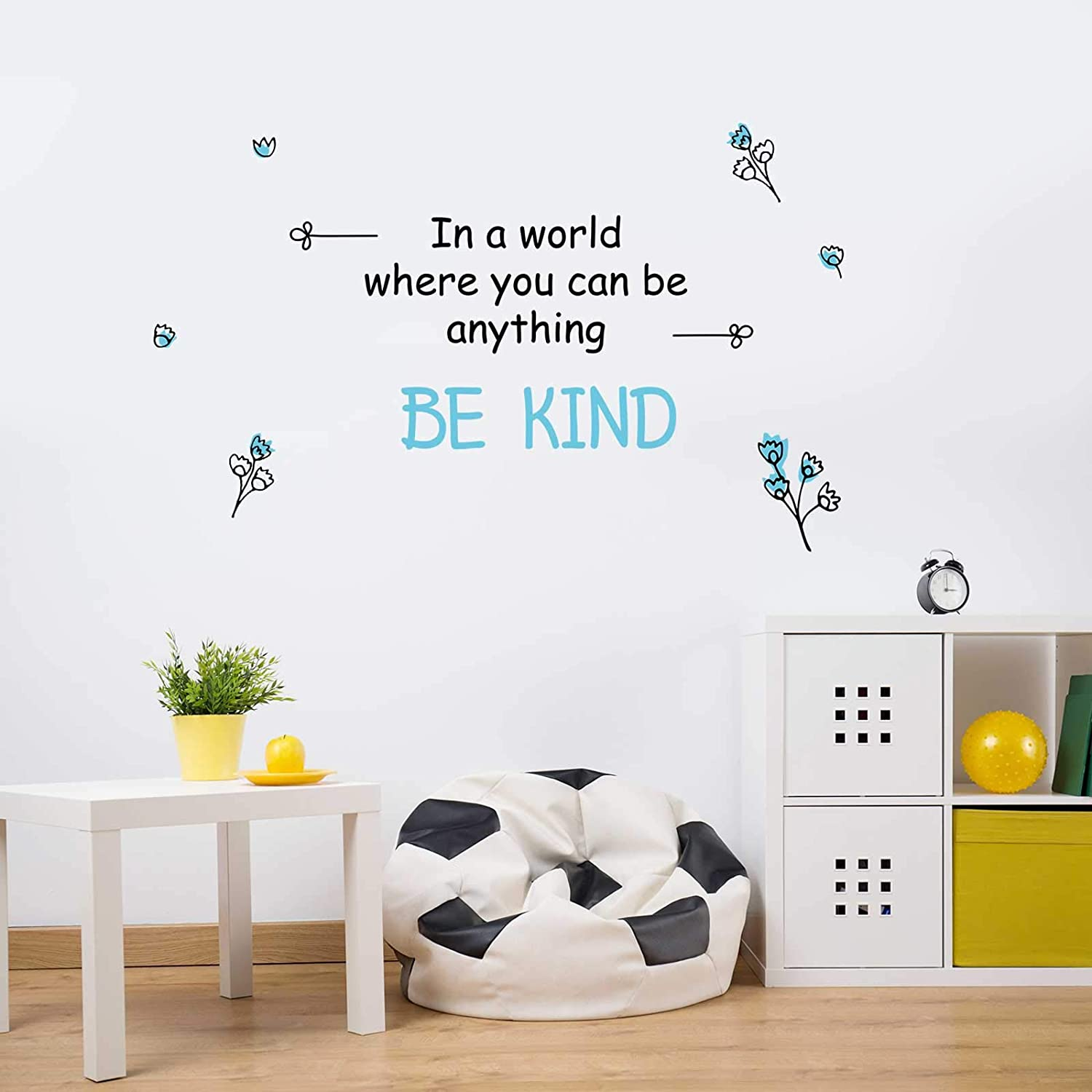 Zonon Be Kind Wall Decals in a World Wall Stickers Inspirational Quotes Wall Decals Lettering Wall Sayings Stickers for Bedroom Living Room School Office Home Decoration, 3 Sheet
