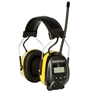 Safety Ear Muffs,Noise Cancelling AM/FM Radio Headphones with Bluetooth Technology, DIPFSUC Hearing Protector with Rechargeable Battery, Ear Hearing Protection for Lawn Mower Work Using (MP3,NRR 25dB)