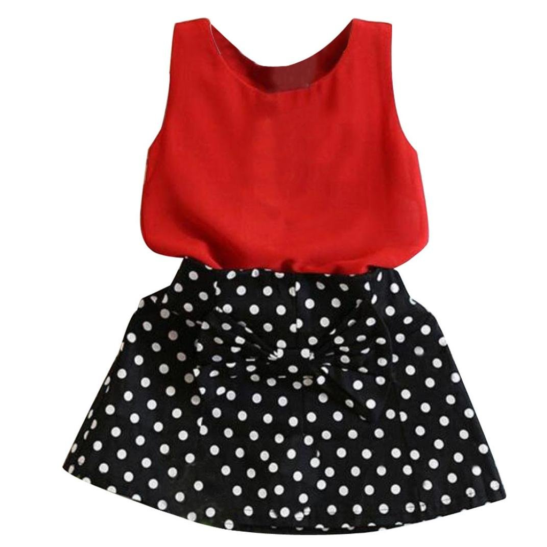 b6248143370f09 Amazon.com: Nmch Baby Girls Vest Pleated Skirts Suit,2PCS Sleeveless Tops  with Dot Skirt Children Clothes Set (5-6Years, Red): Pet Supplies