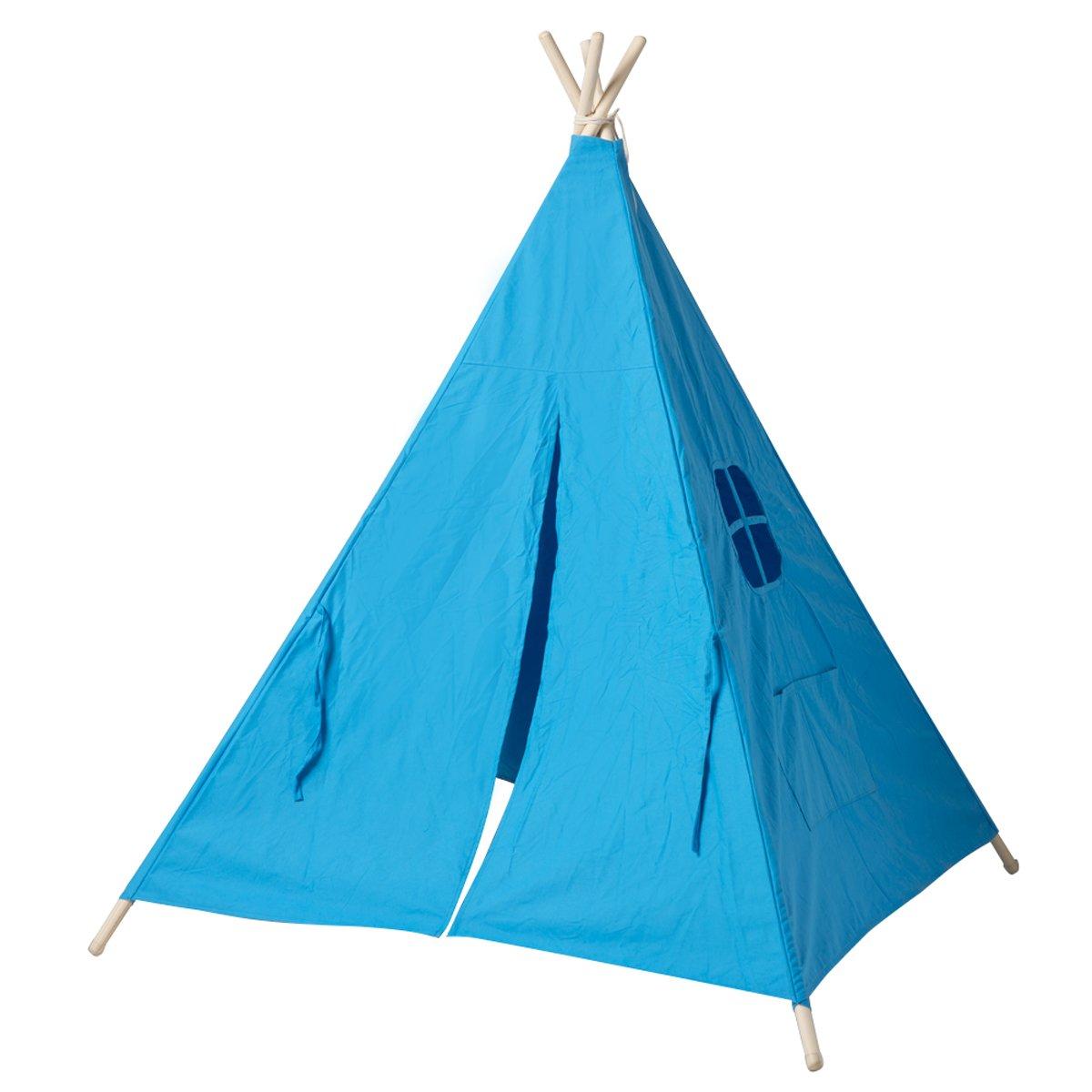 Disponible en blanc, blu Maisonnette Wigwam pour les enfants très facile à installer à la plage Teepee en toile de coton et en bois parfait pour jouer dehors dans le jardin comme dans la maison TIPI ENFANT Tente dIndien pour garçon et pour fille