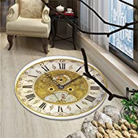 Clock Round Area Rug Vintage Theme A Seventeenth Century Ornamental Clock Face with Roman NumbersOriental Floor and Carpets Gold and Black