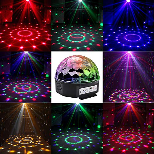 LOHOME Sound Activated Party Lights, Built-in Wireless BT Speaker 9 Color DJ Stage Lighting Crystal Magic Disco Ball with Remote Control MP3 Play and USB for All Kinds of Parties DJ Bar (Colour)